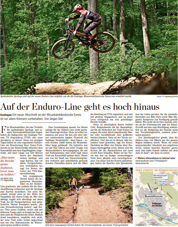 Stuttgarter Zeitung, 27.06.2019: Auf der Enduro-Line geht es hoch hinaus